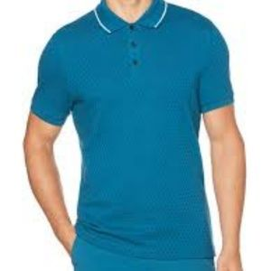 $49.50 Perry Ellis Check Jacquard Polo Shirt Blue